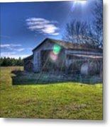 Barn With Sun Flare Metal Print