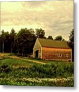 Barn With Wildflowers Metal Print