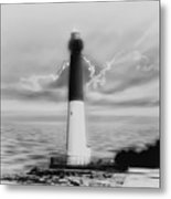 Barnegat Lighthouse In Black And White Metal Print
