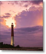 Barnegat Lighthouse Stormy Sunset Metal Print