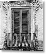 Baroque Balcony Window. Messina, Sicily.    Black And White Metal Print