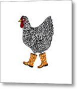 Barred Rock With Boots Metal Print