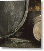 Barrels Of Wine In A Wine Cellar. France Metal Print