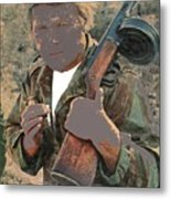 Barry Sadler With Machine Gun On His Shoulder Tucson Arizona 1971-2015 Metal Print
