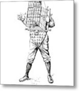 Baseball Catcher Cage - Restored Patent Drawing For The 1904 James Edward Bennett Catcher Cage Metal Print