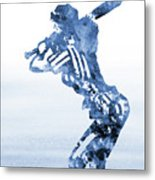 Baseball Girl-blue Metal Print