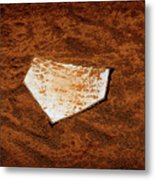 Baseball Homeplate In Brown Dirt For Sports American Past Time Metal Print
