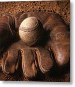 Baseball In Glove Metal Print by John Wong