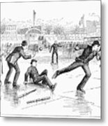 Baseball On Ice, 1884 Metal Print by Granger