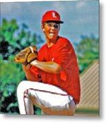 Baseball Pitcher Metal Print by Marilyn Holkham