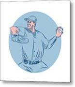 Baseball Pitcher Throwing Ball Circle Drawing Metal Print