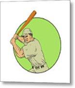 Baseball Player Batting Stance Circle Drawing Metal Print
