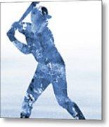 Baseball Player-blue Metal Print