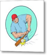 Baseball Player Hitting A Homerun Drawing Metal Print