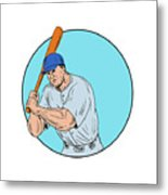 Baseball Player Holding Bat Drawing Metal Print