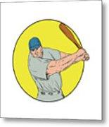 Baseball Player Swinging Bat Drawing Metal Print