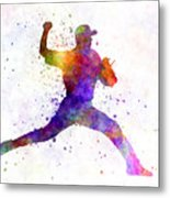 Baseball Player Throwing A Ball 01 Metal Print