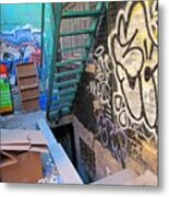 Basement Apartment In Graffiti Alley Metal Print