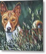 Basenji In Grass Metal Print