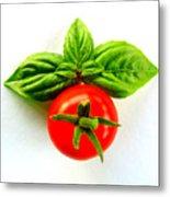 Basil And Cherry Tomato Metal Print