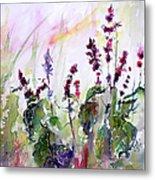 Basil Culinary Herb Watercolor Metal Print