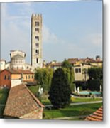 Basilica Di San Frediano With Palazzo Pfanner Gardens Metal Print
