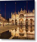 Basilica San Marco Reflections At Night - Venice, Italy Metal Print