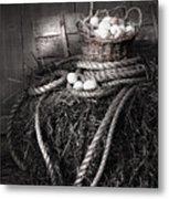 Basket Of Eggs On A Bale Of Hay Metal Print by Sandra Cunningham