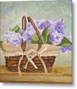Basket Of Lilacs Metal Print
