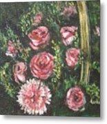 Basket Of Pink Flowers Metal Print