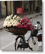 Basket Of Roses Metal Print by Lee Stickels