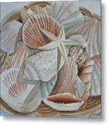 Basket Of Shells Metal Print