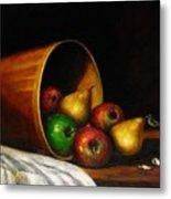Basket With Fruits Metal Print