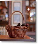 Basket With Wine Bottles Metal Print