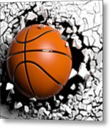 Basketball Ball Breaking Forcibly Through A White Wall. 3d Illustration. Metal Print