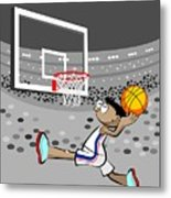 Basketball Player Jumping And Flying To Shoot The Ball In The Hoop Metal Print