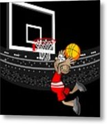 Basketball Player Jumping In The Stadium And Flying To Shoot The Ball In The Hoop Metal Print