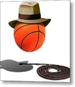Basketball With Fedora Metal Print