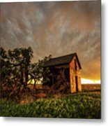 Basking In The Glow - Old Barn At Sunset In Oklahoma Panhandle Metal Print
