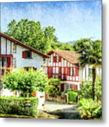 Basque Houses In Ainhoa 2- Vintage Version Metal Print