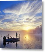 Bass Fisherman At Dawn, Oregon Cascades Metal Print