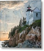 Bass Harbor Lighthouse On Maine Nautical Chart Metal Print