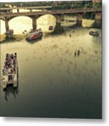 Bat Watchers Stand In Tour Boats As The Bats Take Flight During Sunset On The Congress Avenue Bridge Metal Print