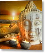 Bath Accessories With Buddha Statue At Sunset Metal Print