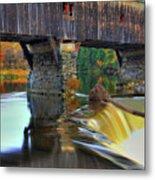 Bath Covered Bridge In Autumn Metal Print