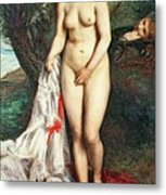 Bather With A Griffon Dog Metal Print
