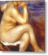 Bather With A Rock Metal Print