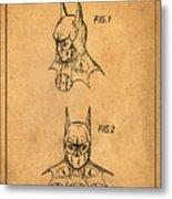 Batman Cowl Patent In Sepia Metal Print