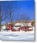 Batteases Farm In Winter Metal Print