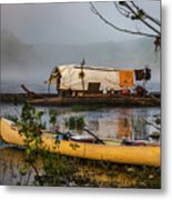 Batteau And Canoe In Fog At Galt's Mill 1708 Metal Print